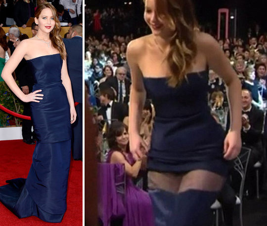 Jennifer Lawrence robe dior malfunction 2013
