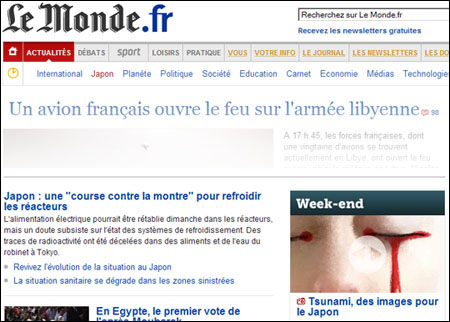 Journal Le Monde - Tsunami Japon 2011