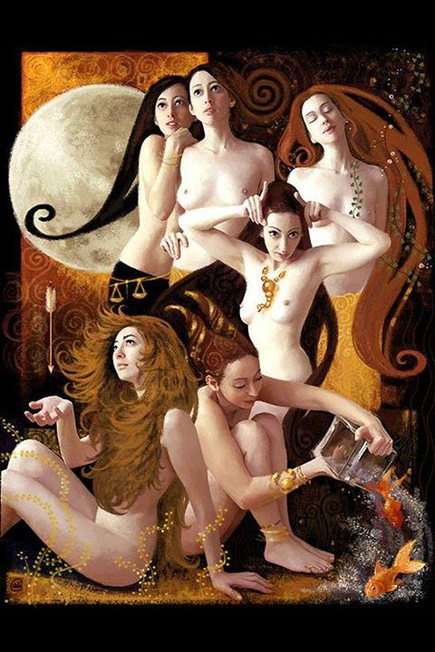 """""""Horoscope"""" - 2004 - Peinture réalisée pour """"Femina"""" magazine"""